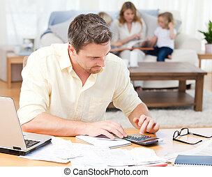 mientras, el suyo, calculador, cuentas, hombre