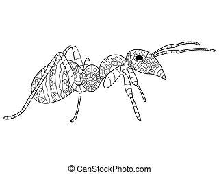 mier, kleuren, vector, voor, volwassenen