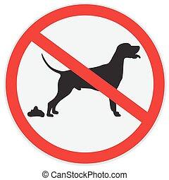 mierda, no, perro, señal