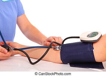mierniczy, ciśnienie, krew