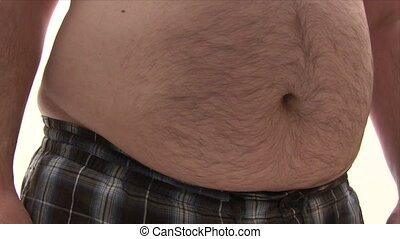 mierniczy, gruby, jego, brzuch