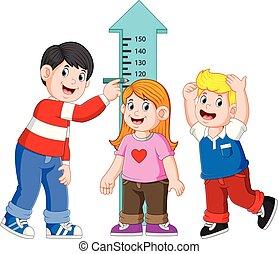 mierniczy, jego, mierzenie, ojciec, wysokość, dziecko