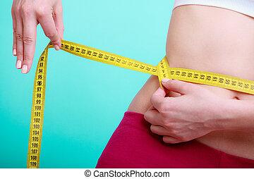 mierniczy, kobieta, jej, atak, stosowność, taśma, diet.,...