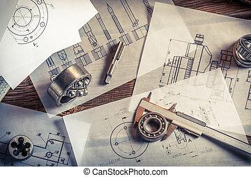 mierniczy, namiar, wyniki, porównywanie, mechaniczny, układ