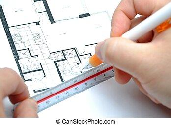mierniczy, nowy, twój, dom, rozmiar