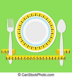 mierniczy, płyta, pojęcie, łyżka, ilustracja, trzym!ć, healhty, jeść, wektor, zielony, dieta, tło, widelec, taśma, cień, pień