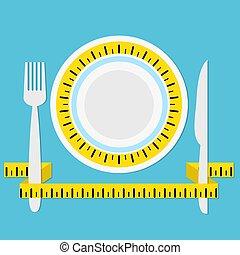 mierniczy, płyta, pojęcie, błękitny, ilustracja, trzym!ć, healhty, jeść, wektor, dieta, tło, widelec, taśma, cień, nóż, pień