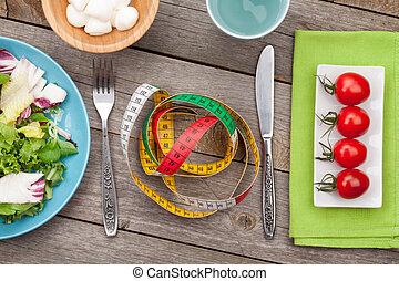 mierniczy, sałata, pomidory, zdrowy, świeży, tape., mozzarella, on