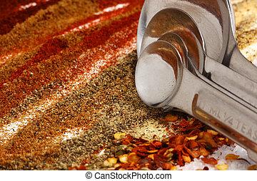 mierniczy, składniki, przyprawa, łyżki, gorący, taco