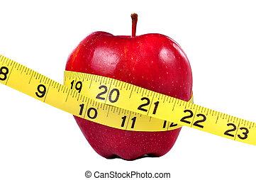 mierniczy taśma, jabłko, czerwony
