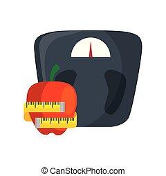 mierniczy, tabela, ruletka, jabłko, ciężar