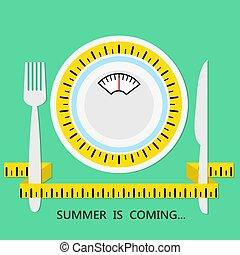mierniczy, tytuł, płyta, lato, pojęcie, dieta, trzym!ć, widelec, healhty, jeść, wektor, zielony, ilustracja, tło, nadchodzący, taśma, cień, nóż, pień