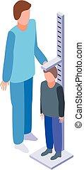 mierzenie, wysokość, styl, pediatra, ikona, isometric
