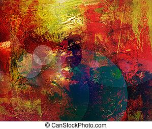 mieszane media, styl, malarstwo, abstrakcyjny