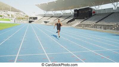 mieszany, atleta, stadion, prąd, wyścigi