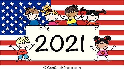 mieszany ethnic, szczęśliwy, 2021, chodnikowiec, dzieci