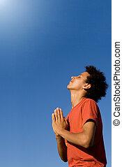mieszany, naście, prąd, chrześcijanin, modlący się
