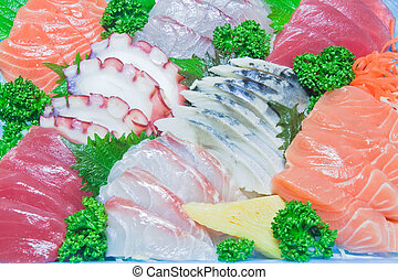 mieszany, otrzyjcie skórę rybę, sashimi