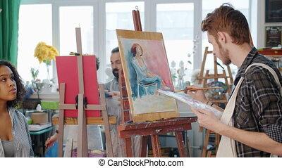 mieszany, portret, samiec, wzór, malarstwo, studio, ...