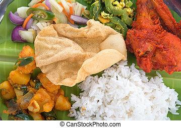 mieszany, zamknięcie, ryż, indianin, do góry