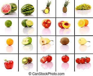 mieszany, zbiór, owoce