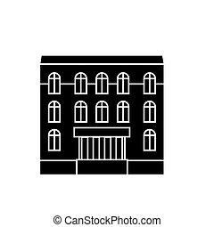 mieszkanie, dom, czarnoskóry, ikona, concept., mieszkanie, dom, wektor, znak, symbol, illustration.