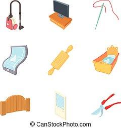 mieszkanie, dom, ikony, komplet, rysunek, styl