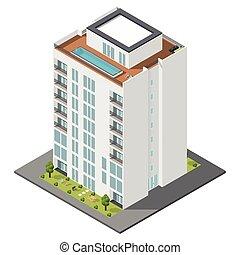 mieszkanie, dom, isometric, ikona, komplet