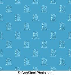 mieszkanie, dom, próbka, wektor, seamless, błękitny