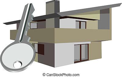 mieszkanie, dom, z, klucz