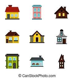 mieszkanie, ikony, komplet, płaski, styl