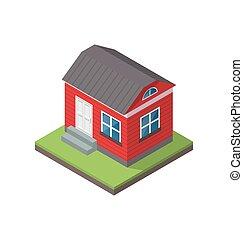 mieszkaniowy, isometric, dom, odizolowany, na białym, tło