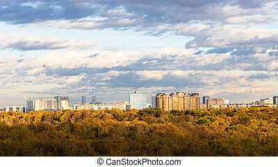 mieszkaniowy okręg, prospekt, park, panoramiczny