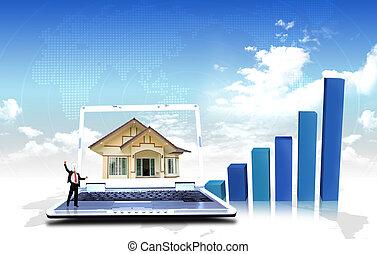 mieszkaniowy, targ, handlowy, wykresy