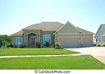 mieszkaniowy, upscale, amerykanka, dom