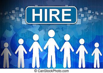 mieten, begriff, wort, human resources