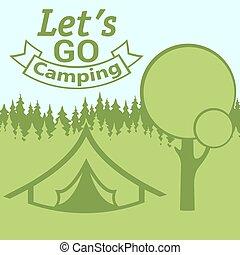 mietfrist, gehen, camping, plakat