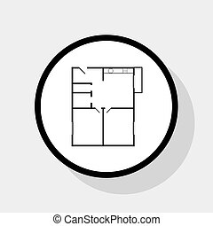 mietshaus, boden, plans., vector.