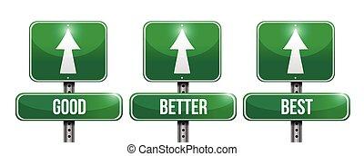 mieux, bon, mieux, illustration, signe