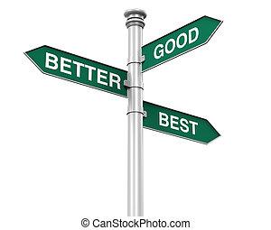 mieux, bon, mieux, poteau indicateur