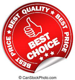 mieux, choix, étiquette