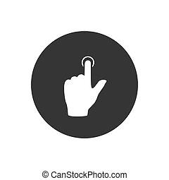 mieux, icône, main, toucher, gris, plat, vecteur