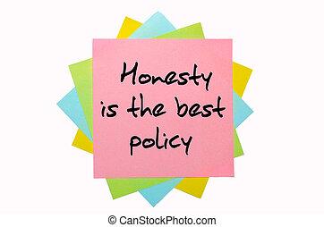 """mieux, main, collant, politique, honnêteté, """", tas, coloré, texte, police, notes, écrit"""