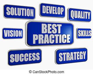 mieux, pratique, -, bleu, concept affaires