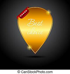 mieux, vecteur, ribbon., rouges, étiquette, choix