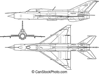 Mig 21 - High detailed vector illustration of a modern...