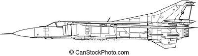 Mig 23 mf - High detailed vector illustration of a modern...