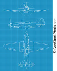MiG 3 - High detailed vector illustration of old military...