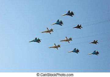 (mig, dieci, fighters), aerei, do, russo, militare