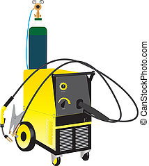 Mig Welder - A Yellow Mig Electric Welding Set isolated on...
